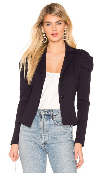 Amanda Uprichard Angelique Blazer in navy - Poly blend. Dry clean only. Front button closure. Ruched...
