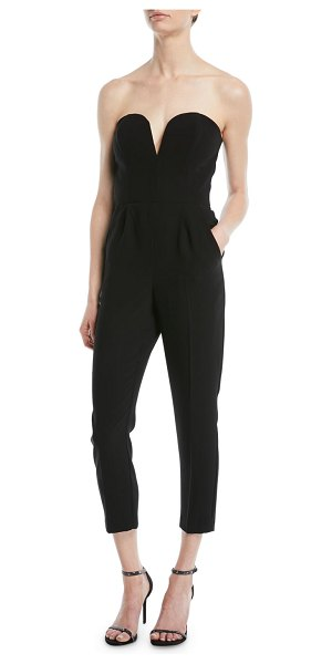 Amanda Uprichard Cherri Strapless Cropped Jumpsuit In Black Shopstasy