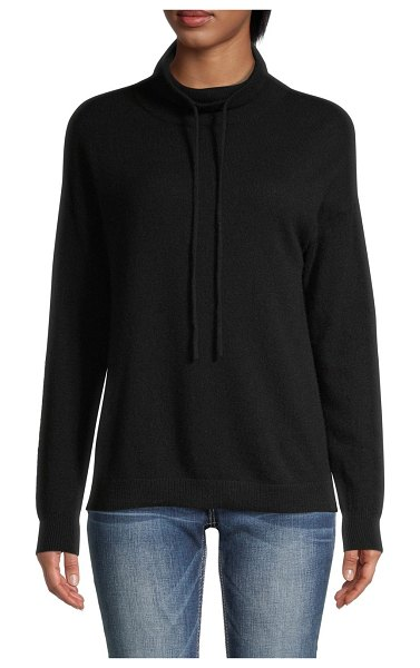 Amicale Drawstring Funnelneck Cashmere Sweater in black