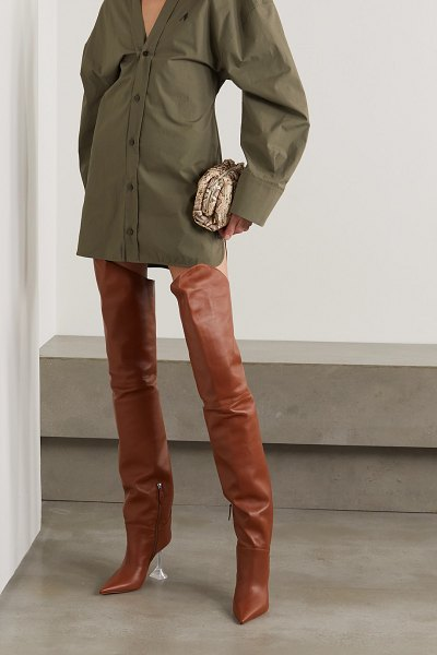 AMINA MUADDI iman leather thigh boots in camel