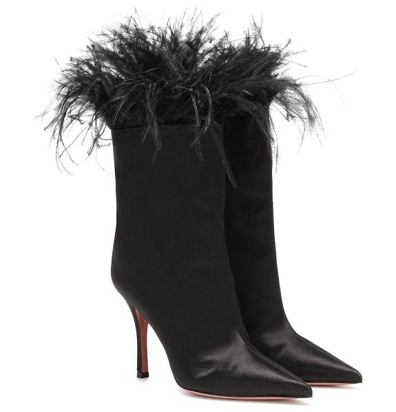 AMINA MUADDI nakia feather-trimmed ankle boots in black