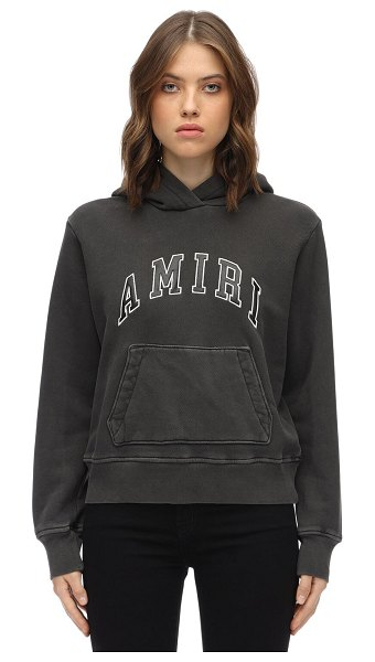Amiri Logo cotton jersey sweatshirt hoodie in dark grey