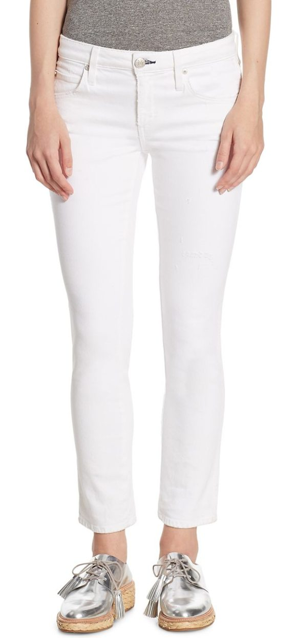AMO bow zip cuff cropped skinny jeans - Cropped skinny jean with back bow-detail zip cuffs. Belt...