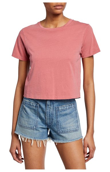 AMO Denim Babe Cropped Crewneck Tee in petal