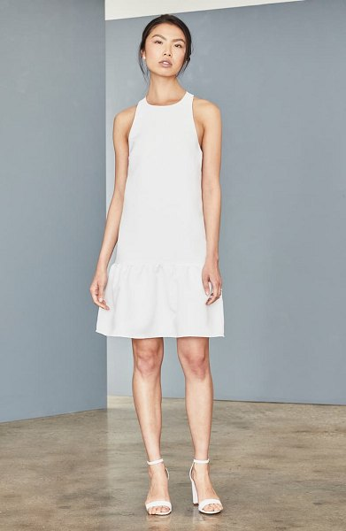 Amsale ruffle hem faille trapeze dress in silk white