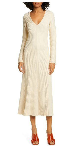 AMUR fawn long sleeve midi sweater dress in ecru