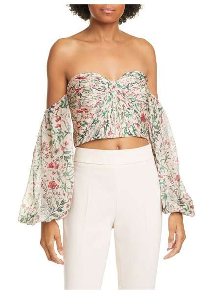 AMUR helena floral off the shoulder silk crop top in blush multi wildflowers