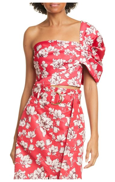 AMUR lucia floral one-shoulder crop top in raspberry wild rose