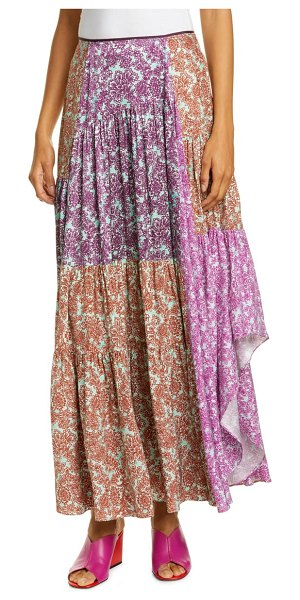 AMUR scout pleated floral silk maxi skirt in mint/ purple multi