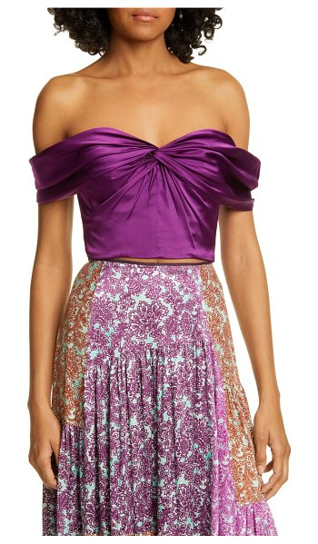 AMUR winnie silk satin off the shoulder top in purple