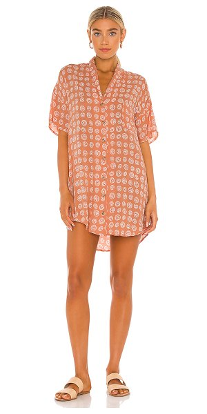 AMUSE SOCIETY fortune teller short sleeve button up dress in cognac