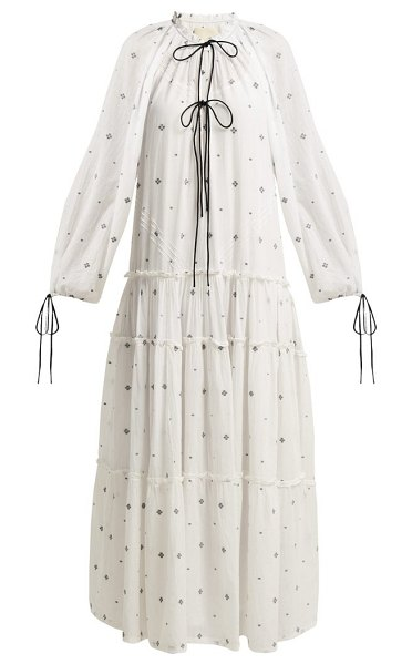 Anaak fay tiered fil-coupé cotton dress in white print