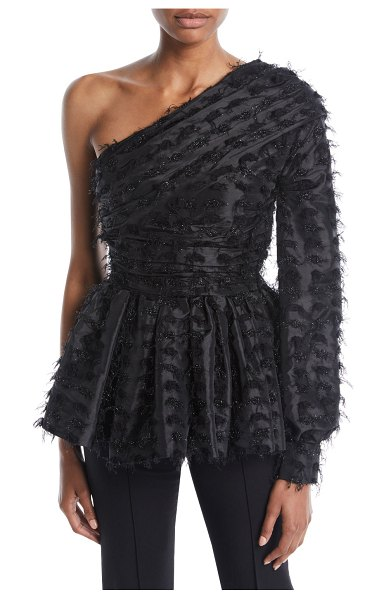 ef73bec571956 Anais Jourden Twinkle One-Sleeve Peplum Top in black - Anais Jourden