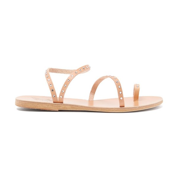 Ancient Greek Sandals apli eleftheria crystal-studded leather sandals in tan silver