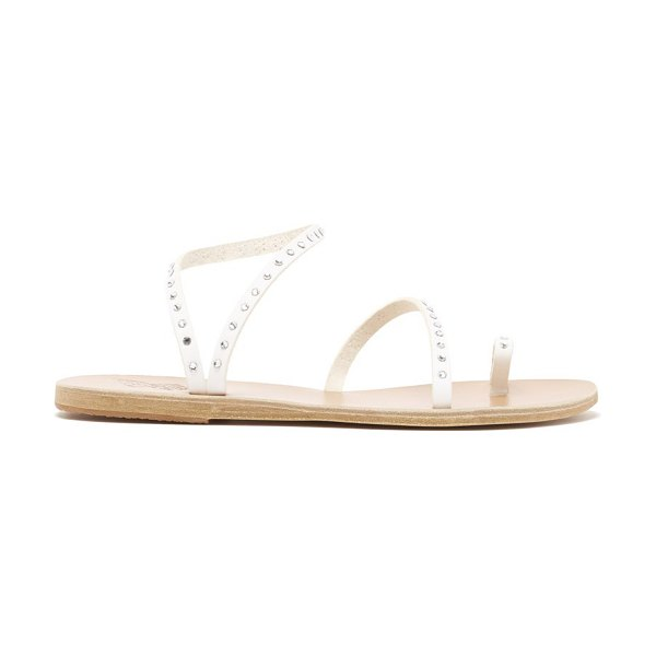 Ancient Greek Sandals apli eleftheria crystal-studded leather sandals in white silver