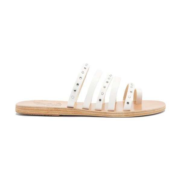 Ancient Greek Sandals niki crystal-studded leather slides in white silver