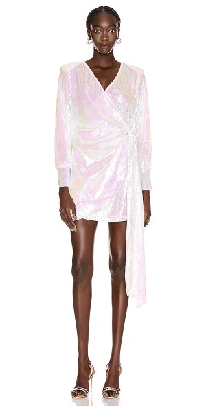 ANDAMANE carly sequins wrap mini dress in hologram