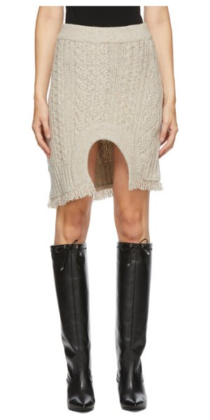 Andersson Bell beige knit insideout short skirt in ivory