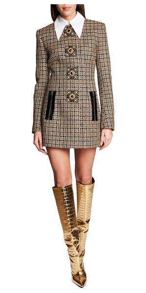 ANDREW GN Collared Plaid Tweed Mini Dress w/ Crystal-Button Detail in gold