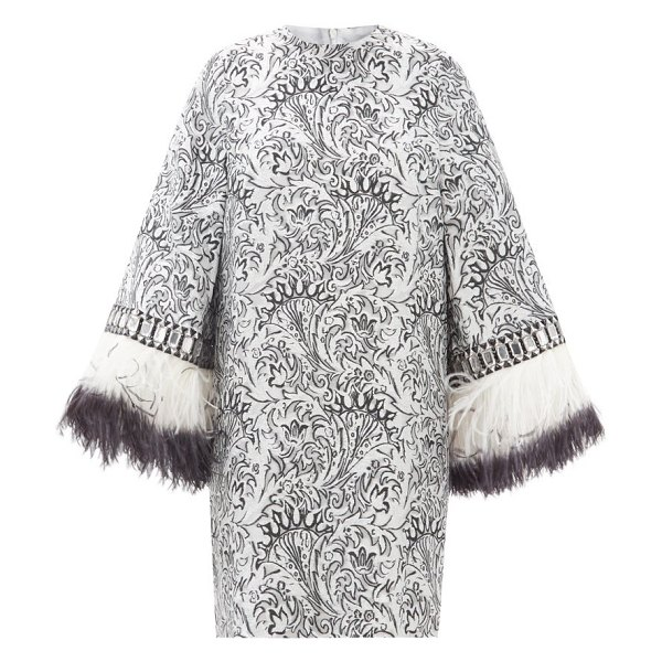 ANDREW GN embellished-cuff metallic fil-coupé mini dress in silver