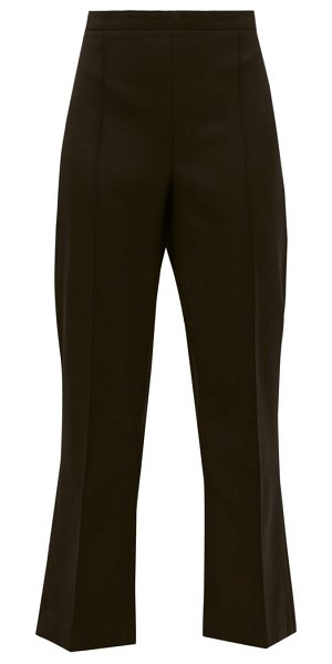 ANDREW GN high rise cropped virgin wool flared trousers in black