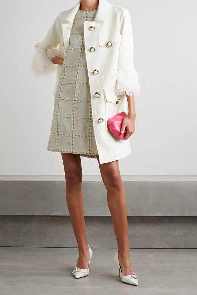ANDREW GN metallic embroidered wool-blend tweed mini dress in white