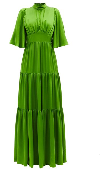ANDREW GN tiered silk-satin gown in green
