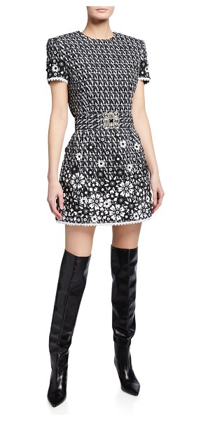 ANDREW GN Tweed Floral Applique Mini Dress in black/white