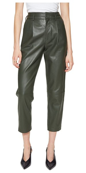ANINE BING becky crop leather trousers in green