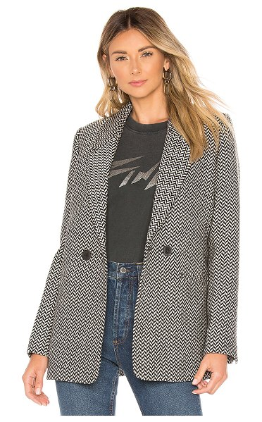 ANINE BING Fishbone Blazer in black - 55% lyocell 30% poly 15% wool. Dry clean only. Front...