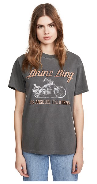 ANINE BING lili gun powder motorcycle tee in washed grey