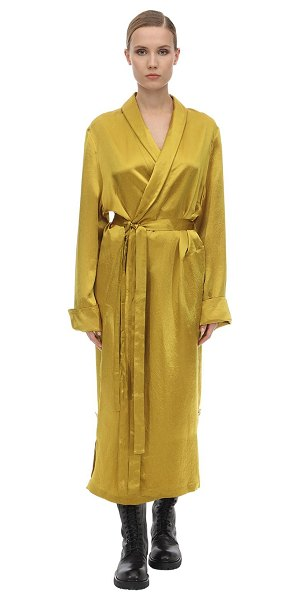 Ann Demeulemeester Belted satin coat in yellow