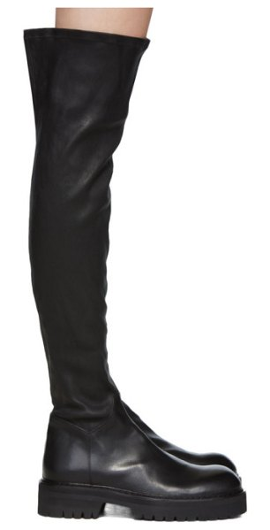 Ann Demeulemeester black over-the-knee combat boots in nero