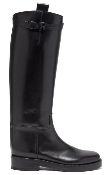 Ann Demeulemeester buckled-strap knee-high leather boots in black