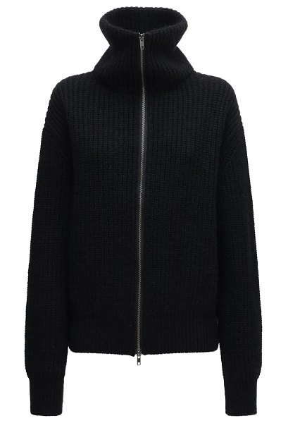 Ann Demeulemeester Ribbed knit wool zip-up sweater in black