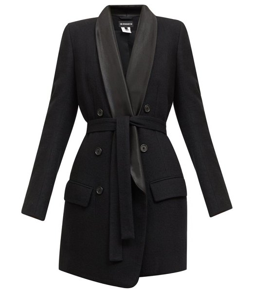 Ann Demeulemeester double-breasted satin-lapel belted wool coat in black