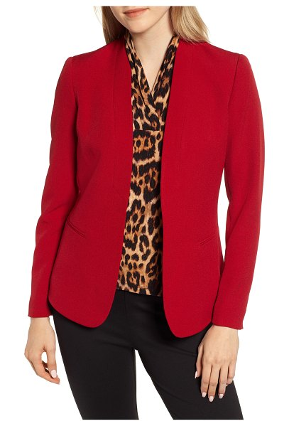 Anne Klein crepe jacket in titian red - This hard-working layer marries the polish of a...