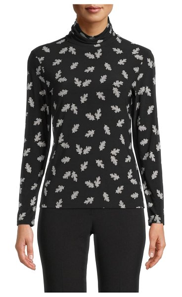 Anne Klein floating leaves turtleneck in anne black/ rocky shore combo