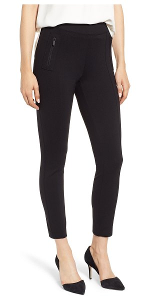 Anne Klein florence zip pocket seam detail stretch pants in black - Finally, sleek style is paired with stretchy comfort in...