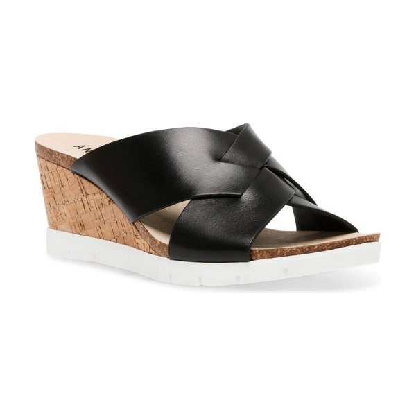 Anne Klein lexy wedge slide sandal in black nubuck