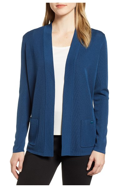 Anne Klein malibi cardigan in blue - A finely ribbed knit cardigan brings a classic look to...
