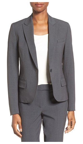 Anne Klein one-button suit jacket in grey - Pickstitching adds to the finely tailored look of a...