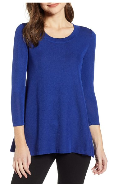 Anne Klein scoop neck knit top in gauguin - A draped silhouette with a slightly curved hem makes...