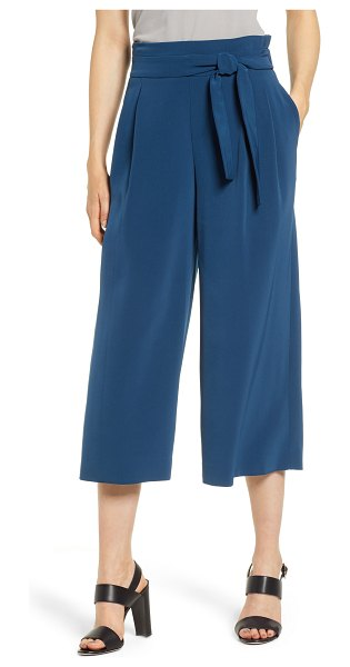 Anne Klein tie front culottes in blue - A front tie detail and impeccable pleats make these...