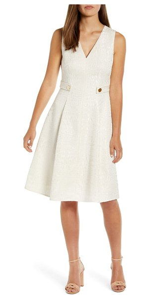 Anne Klein v-neck jacquard fit & flare dress in anne white