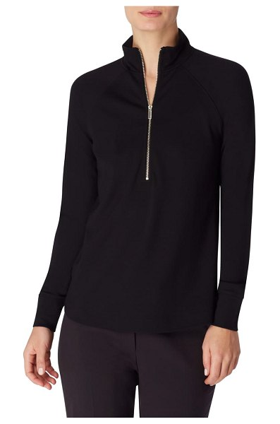 Anne Klein zip front pullover in anne black