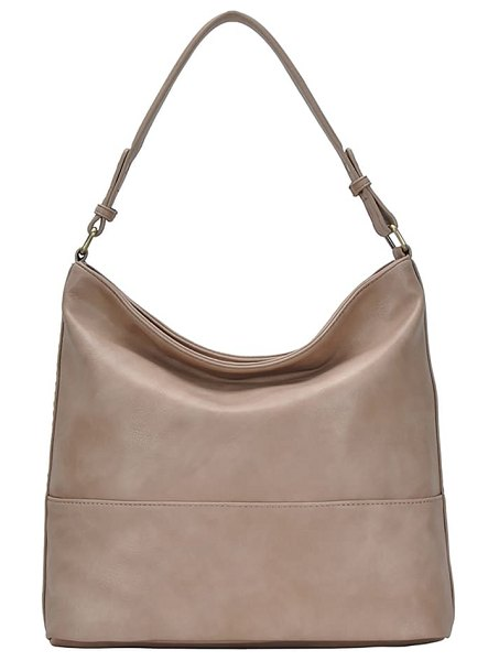 ANTIK KRAFT woven detail faux leather hobo in light taupe