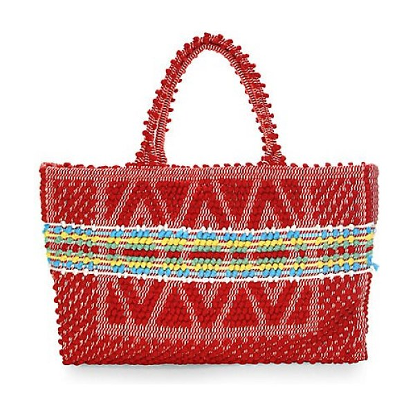 Antonello Tedde medium signature rombi diamond knit tote bag in rosso,cream - Knit tote bag exudes bohemian accents through its...