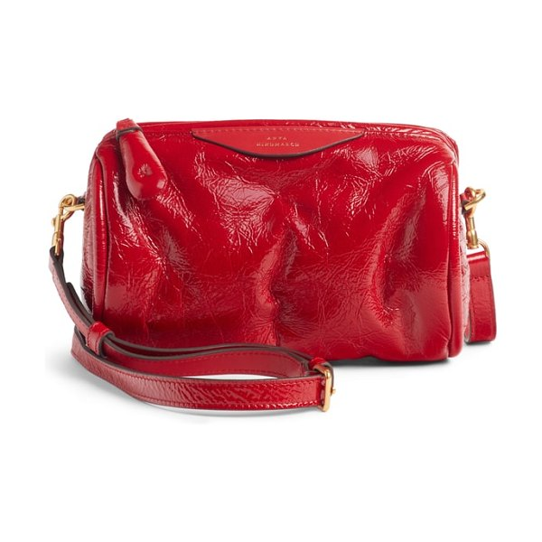 Anya Hindmarch chubby barrel patent leather satchel in dark red - Inspired by tufted bolster pillows and furniture, this...