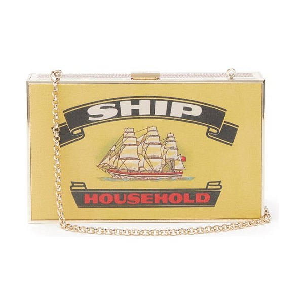 Anya Hindmarch imperial ships matchbox-print leather clutch in white multi